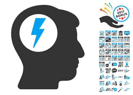 descarga electrica: Brain Electric Shock icon with bonus 2017 new year pictograms. Vector illustration style is flat iconic symbols,modern colors, rounded edges.