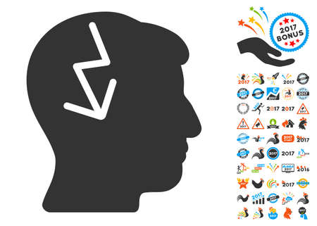ruch: Brain Electric Strike icon with bonus 2017 new year pictograph collection. Vector illustration style is flat iconic symbols,modern colors, rounded edges. Illustration