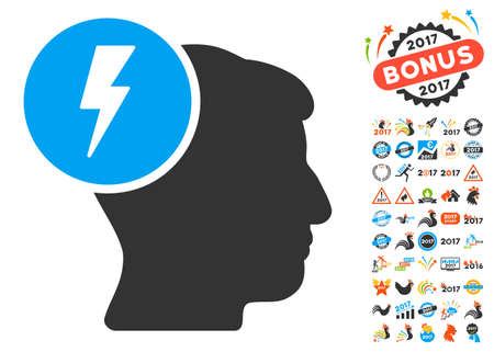 ruch: Brain Electricity icon with bonus 2017 new year symbols. Vector illustration style is flat iconic symbols,modern colors, rounded edges.