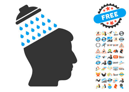 Brain Shower pictograph with bonus 2017 new year clip art. Vector illustration style is flat iconic symbols,modern colors, rounded edges.  イラスト・ベクター素材