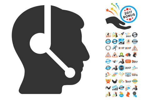 talker: Call Center Operator pictograph with bonus 2017 new year design elements. Vector illustration style is flat iconic symbols,modern colors, rounded edges.