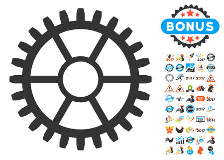 Clock Wheel pictograph with bonus 2017 new year pictograph collection. Vector illustration style is flat iconic symbols,modern colors, rounded edges.