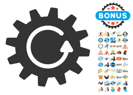 Cogwheel Rotation icon with bonus 2017 new year clip art. Vector illustration style is flat iconic symbols,modern colors, rounded edges.