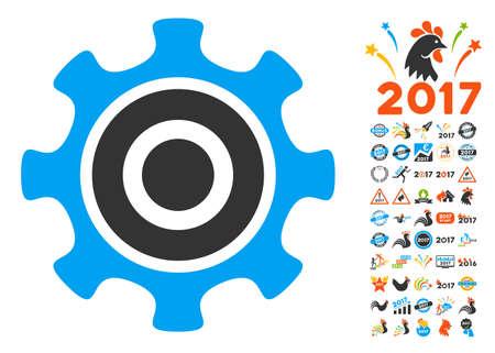 Cogwheel pictograph with bonus 2017 new year symbols. Vector illustration style is flat iconic symbols,modern colors, rounded edges.