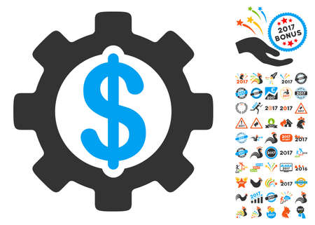 clip art cost: Development Cost icon with bonus 2017 new year clip art. Vector illustration style is flat iconic symbols,modern colors, rounded edges.