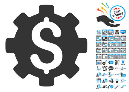 clip art cost: Development Cost pictograph with bonus 2017 new year pictograms. Vector illustration style is flat iconic symbols,modern colors, rounded edges. Illustration