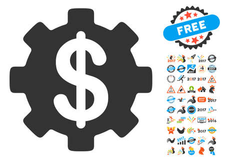 clip art cost: Development Cost icon with bonus 2017 new year pictograms. Vector illustration style is flat iconic symbols,modern colors, rounded edges.