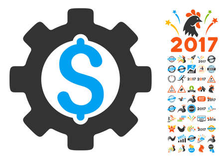 clip art cost: Development Cost pictograph with bonus 2017 new year icon set. Vector illustration style is flat iconic symbols,modern colors, rounded edges.