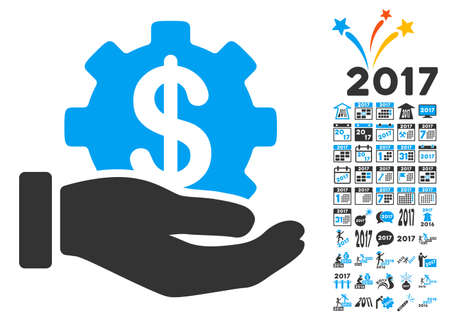 clip art cost: Development Service pictograph with bonus 2017 new year pictograms. Vector illustration style is flat iconic symbols,modern colors, rounded edges.