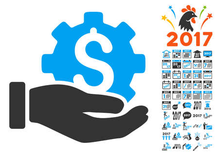clip art cost: Development Service pictograph with bonus 2017 new year icon set. Vector illustration style is flat iconic symbols,modern colors, rounded edges. Illustration