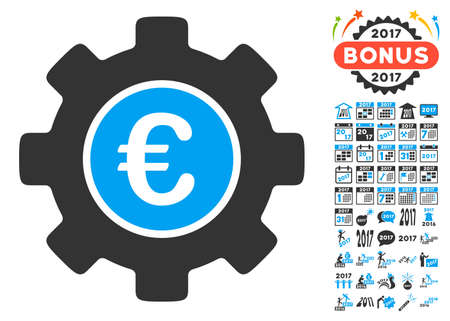 clip art cost: Euro Development Gear pictograph with bonus 2017 new year design elements. Vector illustration style is flat iconic symbols,modern colors, rounded edges.