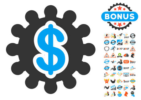 clip art cost: Financial Options Gear pictograph with bonus 2017 new year icon set. Vector illustration style is flat iconic symbols,modern colors, rounded edges.