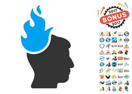 headaches: Fired Head icon with bonus 2017 new year graphic icons. Vector illustration style is flat iconic symbols,modern colors, rounded edges. Illustration