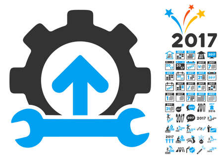 Gear Integration Tools icon with bonus 2017 new year clip art. Vector illustration style is flat iconic symbols,modern colors, rounded edges. Illustration