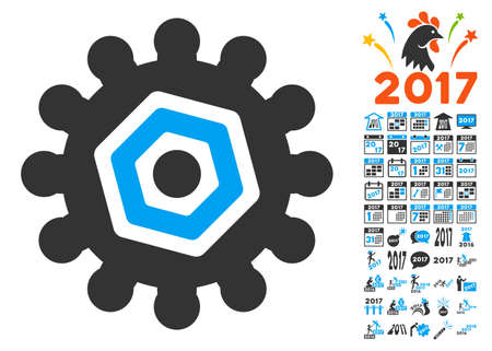 Gear icon with bonus 2017 new year graphic icons. Vector illustration style is flat iconic symbols,modern colors, rounded edges. Illustration