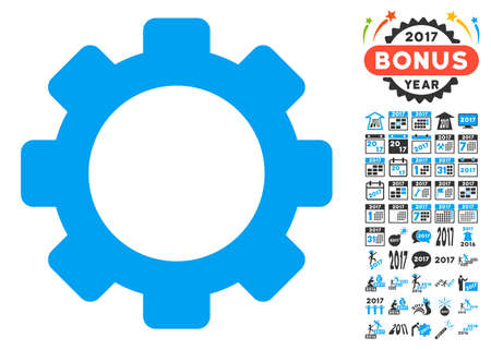Gear icon with bonus 2017 new year images. Vector illustration style is flat iconic symbols,modern colors, rounded edges.