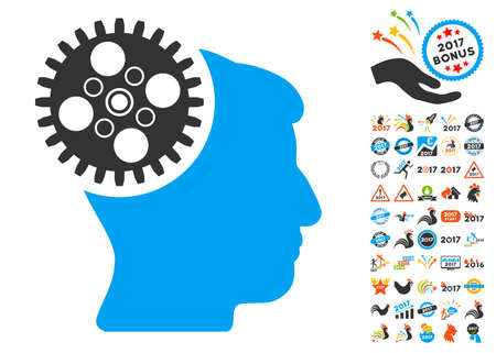 Head Gearwheel pictograph with bonus 2017 new year icon set. Vector illustration style is flat iconic symbols,modern colors, rounded edges.