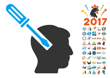 endoscopy: Head Screwdriver Tuning icon with bonus 2017 new year icon set. Vector illustration style is flat iconic symbols,modern colors, rounded edges.