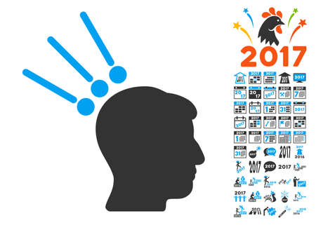 plugin: Head Test Connectors icon with bonus 2017 new year graphic icons. Vector illustration style is flat iconic symbols,modern colors, rounded edges.