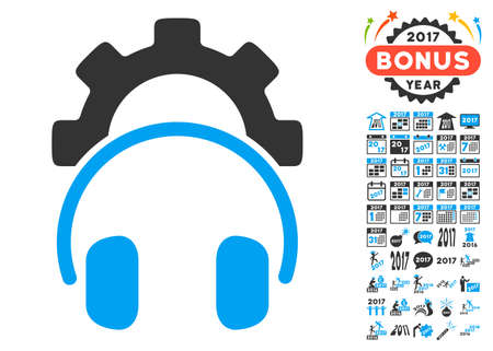 configuration: Headphones Configuration Gear pictograph with bonus 2017 new year images. Vector illustration style is flat iconic symbols,modern colors, rounded edges.