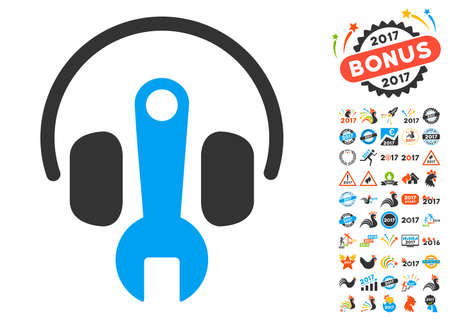 volume control: Headphones Tuning Wrench pictograph with bonus 2017 new year design elements. Vector illustration style is flat iconic symbols,modern colors, rounded edges.