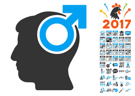 potency: Intellect Potency pictograph with bonus 2017 new year symbols. Vector illustration style is flat iconic symbols,modern colors, rounded edges.