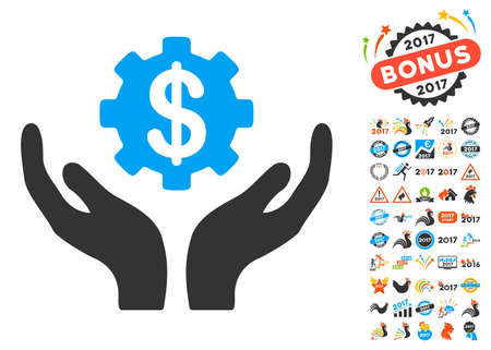 clip art cost: Maintenance Price icon with bonus 2017 new year images. Vector illustration style is flat iconic symbols,modern colors, rounded edges. Illustration