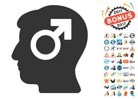 erection: Mind Potency pictograph with bonus 2017 new year pictograph collection. Vector illustration style is flat iconic symbols,modern colors, rounded edges. Illustration