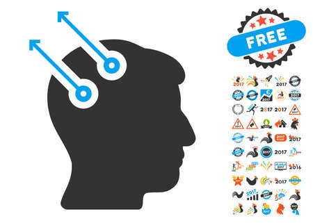 Neural Interface Plugs pictograph with bonus 2017 new year graphic icons. Vector illustration style is flat iconic symbols,modern colors, rounded edges.