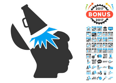 open mind: Open Mind Megaphone icon with bonus 2017 new year icon set. Vector illustration style is flat iconic symbols,modern colors, rounded edges.