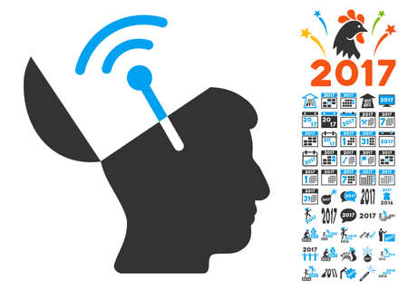 Open Mind Radio Interface icon with bonus 2017 new year graphic icons. Vector illustration style is flat iconic symbols,modern colors, rounded edges. Illustration
