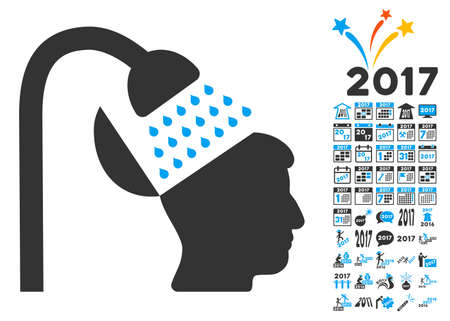 open mind: Open Mind Shower pictograph with bonus 2017 new year graphic icons. Vector illustration style is flat iconic symbols,modern colors, rounded edges.