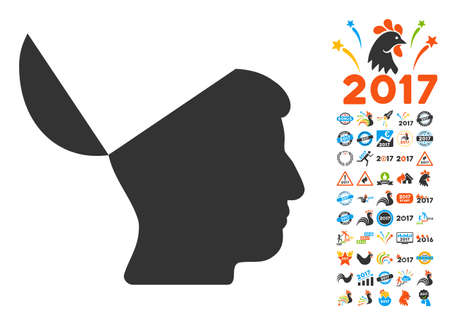 Open Mind pictograph with bonus 2017 new year graphic icons. Vector illustration style is flat iconic symbols,modern colors, rounded edges. Vektoros illusztráció