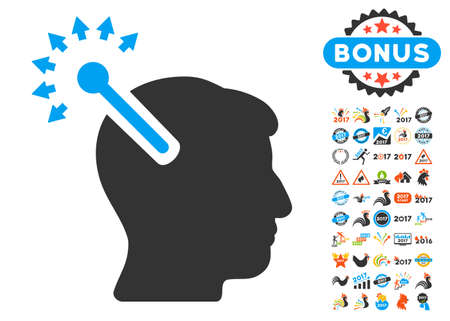 persona: Optical Neural Interface pictograph with bonus 2017 new year images. Vector illustration style is flat iconic symbols,modern colors, rounded edges.