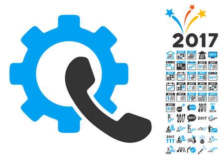Phone Configuration pictograph with bonus 2017 new year symbols. Vector illustration style is flat iconic symbols,modern colors, rounded edges. Illustration