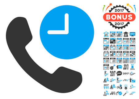 phone time: Phone Time icon with bonus 2017 new year graphic icons. Vector illustration style is flat iconic symbols,modern colors, rounded edges.