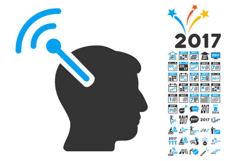 cerebra: Radio Neural Interface pictograph with bonus 2017 new year images. Vector illustration style is flat iconic symbols,modern colors, rounded edges.