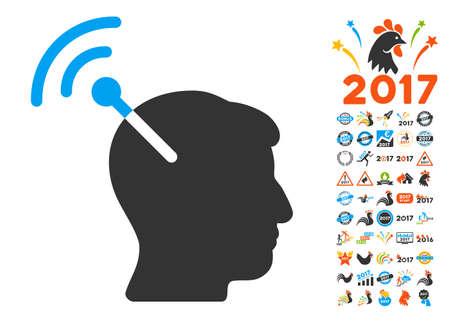 cerebra: Radio Neural Interface pictograph with bonus 2017 new year symbols. Vector illustration style is flat iconic symbols,modern colors, rounded edges. Illustration