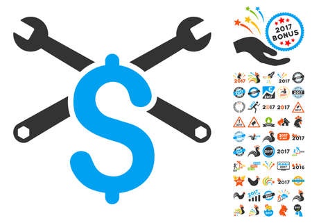 clip art cost: Repair Service Price icon with bonus 2017 new year images. Vector illustration style is flat iconic symbols,modern colors, rounded edges. Illustration