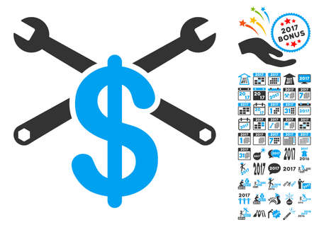 clip art cost: Repair Service Price pictograph with bonus 2017 new year graphic icons. Vector illustration style is flat iconic symbols,modern colors, rounded edges.