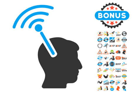 cerebra: Radio Neural Interface pictograph with bonus 2017 new year icon set. Vector illustration style is flat iconic symbols,modern colors, rounded edges. Illustration
