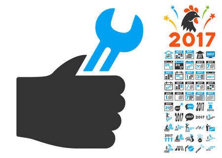 Service Hand pictograph with bonus 2017 new year pictures. Vector illustration style is flat iconic symbols,modern colors, rounded edges.