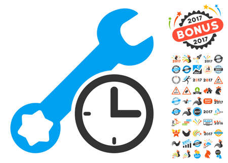 Service Time pictograph with bonus 2017 new year graphic icons. Vector illustration style is flat iconic symbols,modern colors, rounded edges. Illustration