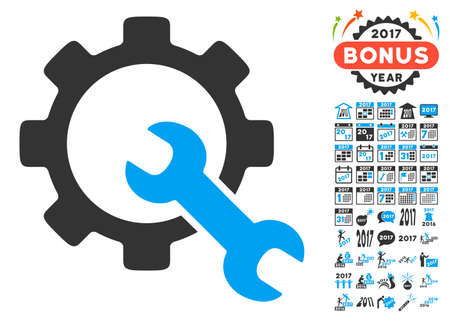 power wrench: Service Tools pictograph with bonus 2017 new year clip art. Vector illustration style is flat iconic symbols,modern colors, rounded edges.