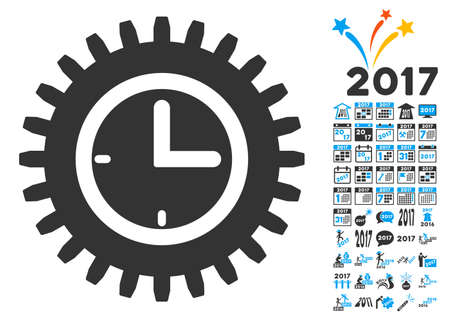 schedule system: Time Options icon with bonus 2017 new year graphic icons. Vector illustration style is flat iconic symbols,modern colors, rounded edges.