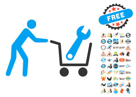 Tools Shopping icon with bonus 2017 new year clip art. Vector illustration style is flat iconic symbols,modern colors, rounded edges. Illustration