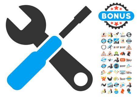 Tools pictograph with bonus 2017 new year icon set. Vector illustration style is flat iconic symbols,modern colors, rounded edges. Illustration