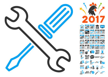Tuning Tools pictograph with bonus 2017 new year pictograms. Vector illustration style is flat iconic symbols,modern colors, rounded edges. Illustration
