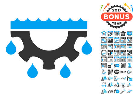 engineering icon: Water Gear Drops icon with bonus 2017 new year pictograph collection. Vector illustration style is flat iconic symbols,modern colors, rounded edges. Illustration