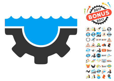 Water Service Gear pictograph with bonus 2017 new year pictograms. Vector illustration style is flat iconic symbols,modern colors, rounded edges.